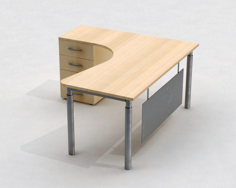 Kampinis darbo stalas ant metalinio rėmo T1R