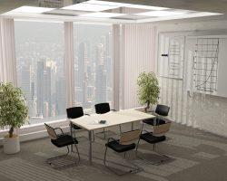 Posėdžių konferencijų stalas ant metalinio karkaso PG2
