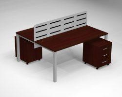 Dvigubas darbo stalas ant metalinio rėmo DG16